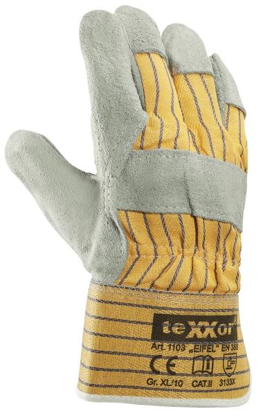 BIG-TEXXOR-Rindkern-Spaltleder-Arbeits-Handschuhe, Eifel, gelb/blau gestreifter Drell