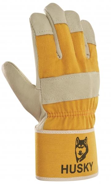 BIG-Schweinsvoll-Leder-Arbeits-Handschuhe, Husky, gelb, gelber Drell