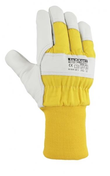 BIG-TEXXOR-Rindvoll-Leder-Arbeits-Handschuhe, Himalaya II, natur, gelber Drell