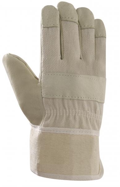 BIG-Schweinsvoll-Leder-Arbeits-Handschuhe, Damen PAWA, gelb, weißer Drell