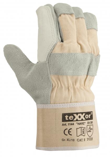 BIG-TEXXOR-Rindkern-Spaltleder-Arbeits-Handschuhe, Harz, natur, weißer Drell