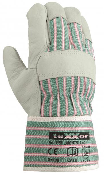 BIG-TEXXOR-Rindvoll-Leder-Arbeits-Handschuhe, Montblanc I, natur, blau/gelb gestreifter Drell