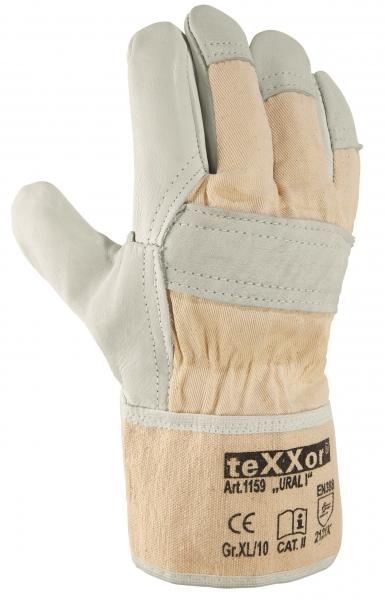 BIG-TEXXOR-Rindvoll-Leder-Arbeits-Handschuhe, Ural I, natur, weißer Drell