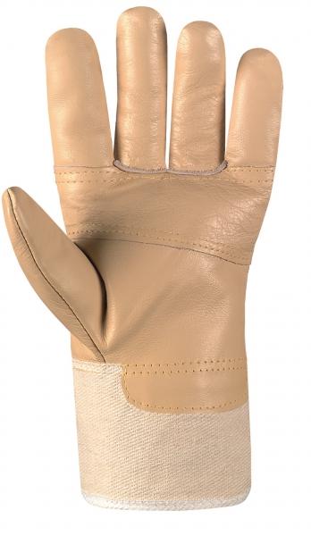 BIG-Möbel-Leder-Arbeits-Handschuhe, Super, helles Leder, weißer Drell