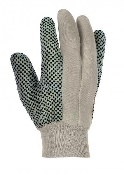 BIG-Baumwollköper--Arbeits-Handschuhe, rohweiß, schwarze Noppen