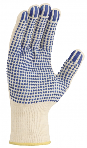 BIG-TEXXOR-Baumwoll-/Nylon-Mittelstrick-Arbeits-Handschuhe, beige, blaue Noppen