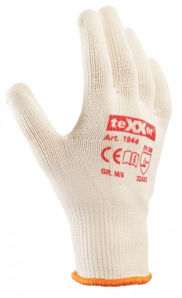 BIG-TEXXOR-Baumwoll-/Nylon-Mittelstrick-Arbeits-Handschuhe, beige, gelbe Noppen