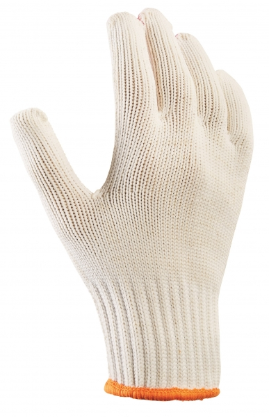 BIG-TEXXOR-Baumwoll-/Nylon-Grobstrick-Arbeits-Handschuhe, beige, rote Noppen