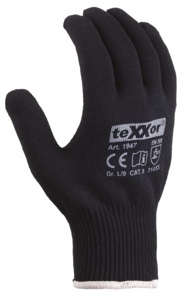 BIG-TEXXOR-Baumwoll-/Nylon-Feinstrick-Arbeits-Handschuhe, blau, rote Noppen