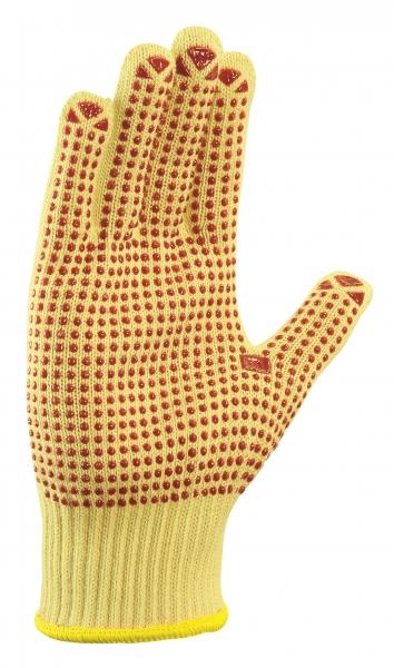 BIG-TEXXOR-Kevlar-Mittelstrick--Arbeits-Handschuhe, beige, rote Noppen