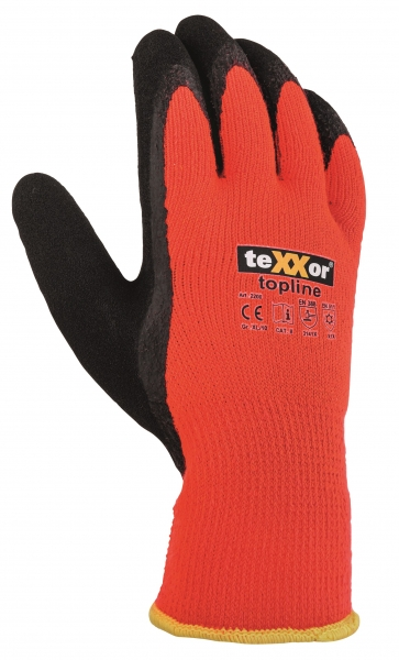 BIG-TEXXOR-Acryl-Mittelstrick-Winter-Arbeits-Handschuhe, orange/schwarz