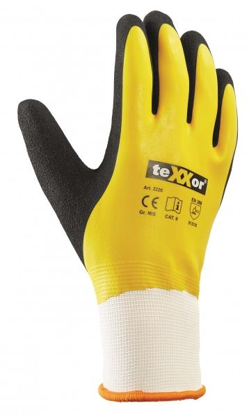 BIG-TEXXOR-Polyester-Strick-Arbeits-Handschuhe, Latex, weiß/gelb/schwarz