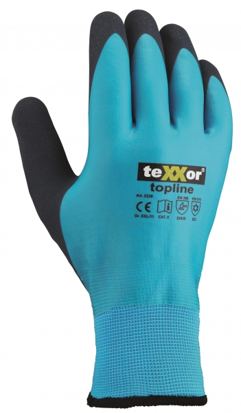 BIG-TEXXOR-Nylon-Strick-Winter-Arbeits-Handschuhe, Latex, blau/dunkelblau