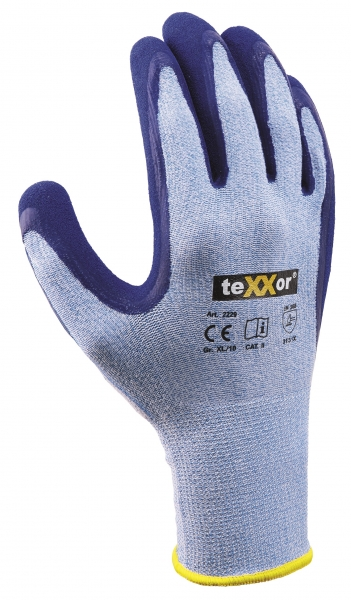 BIG-TEXXOR-Polyester-Strick-Arbeits-Handschuhe, Latex, hellblau meliert/mittelblau