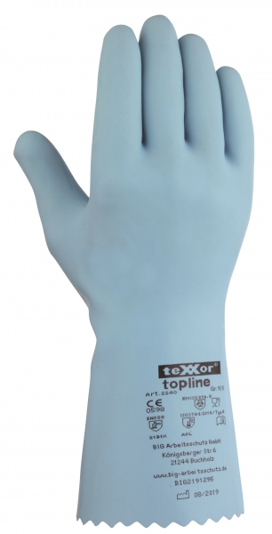 BIG-TEXXOR-Chemikalien-Schutz-Arbeits-Handschuhe, Naturlatex, hellblau