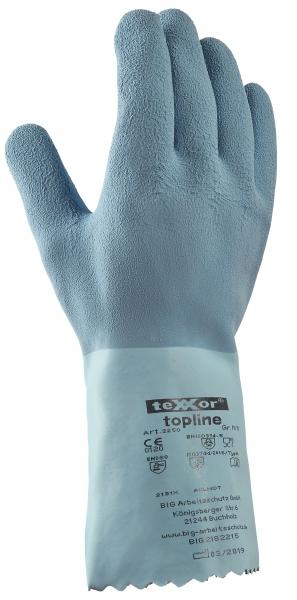BIG-TEXXOR--Chemikalien-Schutz-Arbeits-Handschuhe, Naturlatex, hellblau