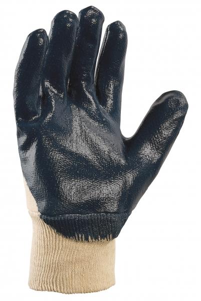 BIG-TEXXOR-Nitril-Arbeits-Handschuhe, Strickbund, beige/blau