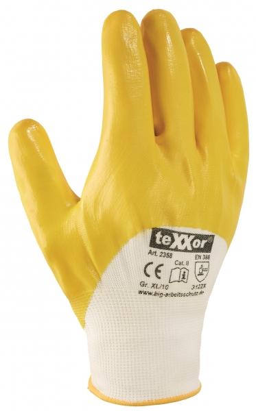 BIG-TEXXOR-Polyester-Strick-Arbeits-Handschuhe, Nitril beschichtet, gelb
