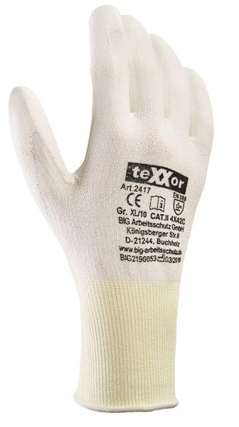 BIG-TEXXOR-Schnittschutz-Strick-Arbeits-Handschuhe, weiß