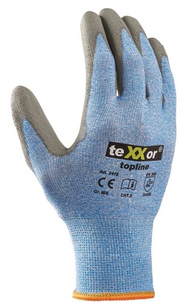 BIG-TEXXOR-Schnittschutz-Strick-Arbeits-Handschuhe, hellblau-meliert