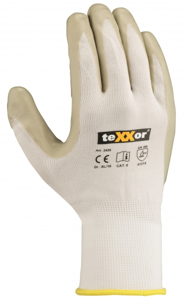 BIG-TEXXOR-Nylon-Strick-Arbeits-Handschuhe, weiß/grau