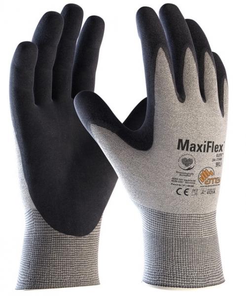 BIG-ATG-Nylon-Strickhandschuhe, MaxiFlex Elite, hellgrau/schwarz