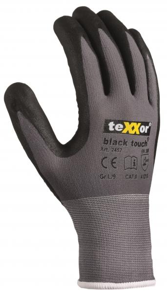 BIG-TEXXOR-Nylon-Strick-Arbeits-Montage-Handschuhe, black touch, grau/schwarz