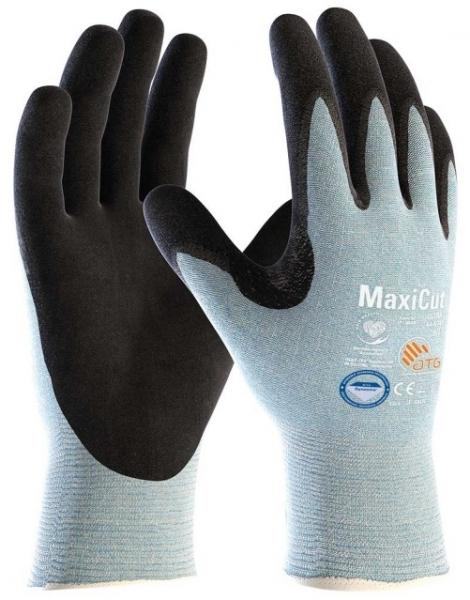 BIG-ATG-Schnittschutz-Strick-Arbeits-Handschuhe, MaxiCut Ultra, schwarz/hellblau