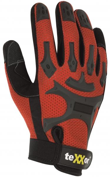 BIG-TEXXOR-Kunst-Leder-Arbeits-Handschuhe, Buckley, rot/schwarz