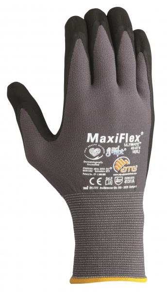BIG-ATG-Nylon-Strick-Arbeits-Montage-Handschuhe, MaxiFlex Ultimate AD-APT, als SB-Verpackung, grau/schwarz