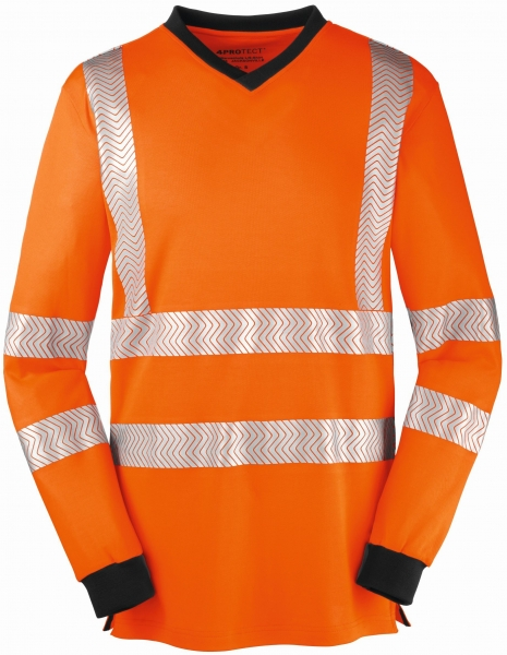 BIG-4-Protect-Warnschutz-Langarm-Shirt, Jacksonville, leuchtorange/grau