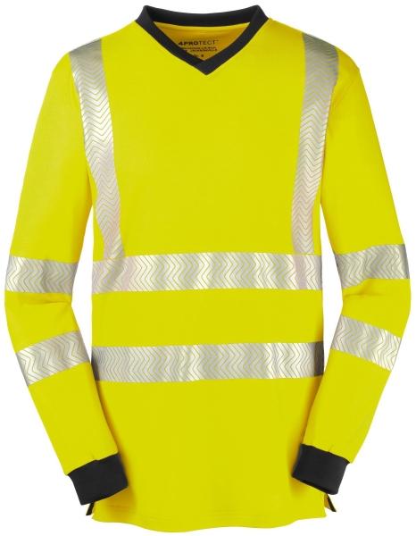 BIG-4-Protect-Warnschutz-Langarm-Shirt, Jacksonville, leuchtgelb/grau