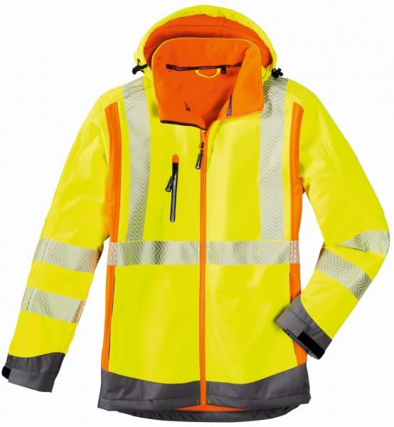 BIG-4-Protect-Warn-Schutz-Softshell-Jacke, Houston, leuchtgelb/leuchtorange/grau
