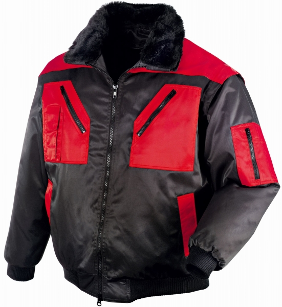 BIG-TEXXOR-Kälte-Schutz, Winter-Arbeits-Berufs-Piloten-Jacke, 4-in-1-Pilotenjacke, Oslo, schwarz/rot