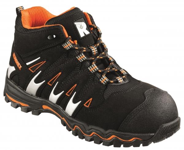 BIG-ruNNex-S1P-Schnürstiefel, Sicherheits-Arbeits-Berufs-Schuhe, Hochschuhe, LightStar, schwarz/orange/silber