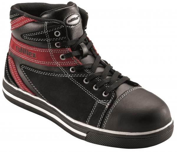 BIG-ruNNex-S3-Schnürstiefel, Sicherheits-Arbeits-Berufs-Schuhe, Hochschuhe, SportStar, schwarz/rot