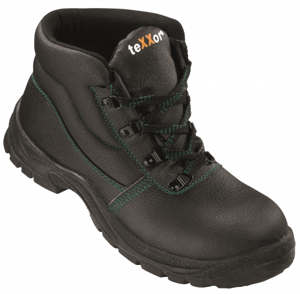 BIG-TEXXOR-S3-Schnürstiefel, Sicherheits-Arbeits-Berufs-Schuhe, Hochschuhe, Monaco, schwarz/grün