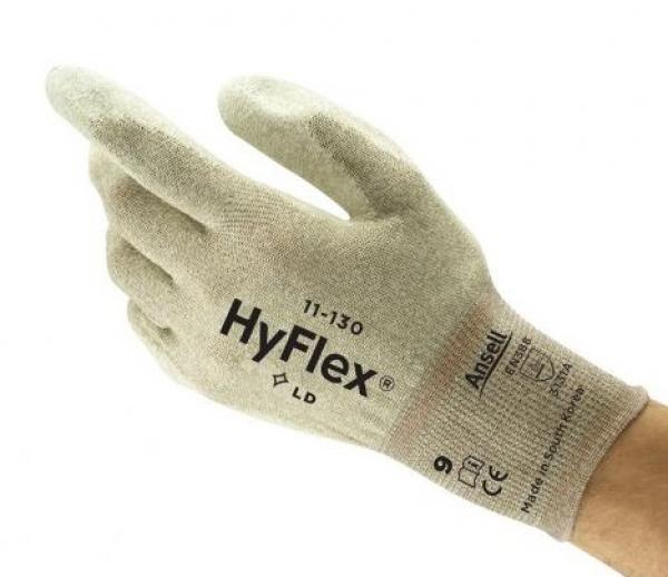 ANSELL--Arbeits-Montage-Handschuhe, ESD, HYFLEX, 11-130,Länge: 260 mm, braun/weiß