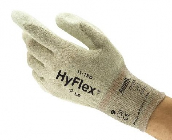 ANSELL-Arbeits-Montage-Handschuhe, ESD, HYFLEX, 11-135,Länge: 260 mm, weiß auf braun/weiß