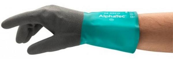 ANSELL-Chemikalien-Schutz-Arbeits-Handschuhe, Alphatec, 58-530W, Grün/Schwarz