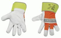 F-STRONGHAND, Rindvoll-Leder-Arbeits-Handschuhe, HI-VIS