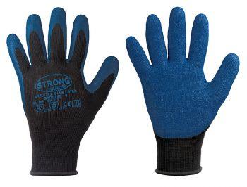 F-STRONGHAND, Feinstrick-Arbeits-Handschuhe, Bluelatex, blau/schwarz