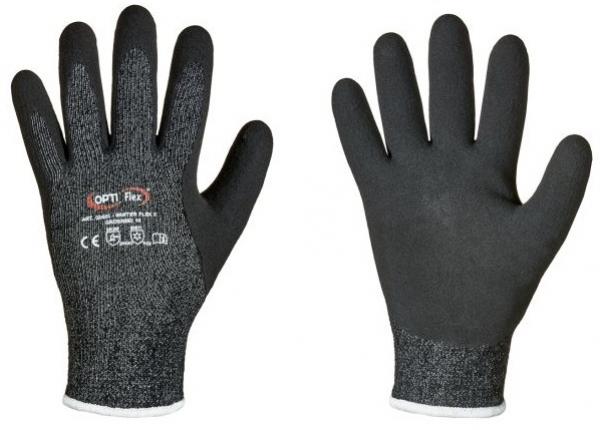 F-OPTIFLEX-Latex-Schnittschutz-Arbeits-Handschuhe, *WINTER FLEX 5*, VE: 60 Paar, schwarz