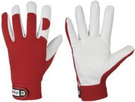 F-ELYSEE, Nappa-Leder, Arbeits-Handschuhe *CARVER*,  VE: 60 Paar, weiß/rot
