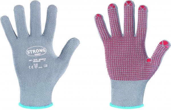 F-STRONGHAND-Strickhandschuhe, ISAR, weiß mit blauen Noppen