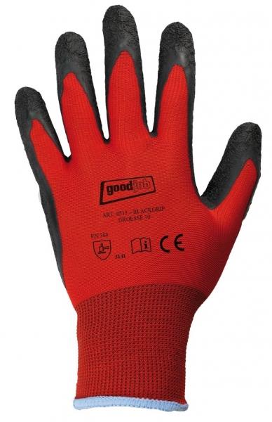 F-GOODJOB-Feinstrick--Arbeits-Handschuhe, BLACKGRIP, rot
