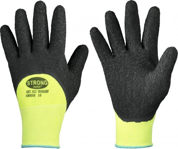 F-STRONGHAND, Feinstrick-Arbeits-Handschuhe,  *NEONGRIP*, VE: 120 Paar, schwarz/neongelb