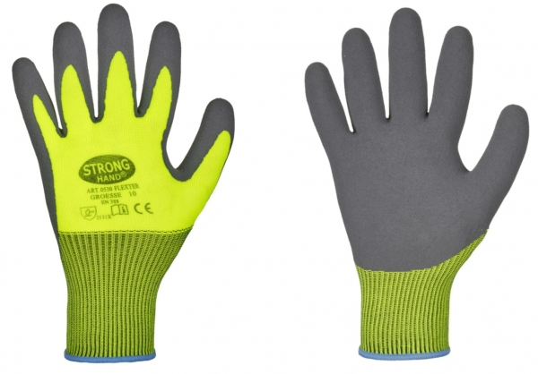F-STRONGHAND, Latex-Arbeits-Handschuhe,*FLEXTER*,  gelb/grau