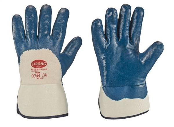 F-STRONGHAND-Nitril-Arbeits-Handschuhe, BLAUSTAR, blau