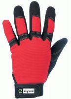 F-ELYSEE, Kunst-Leder-Arbeits-Handschuhe, TECHNICIAN, schwarz/rot